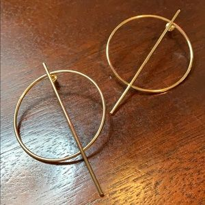 Anthropologie Statement gold circle earrings